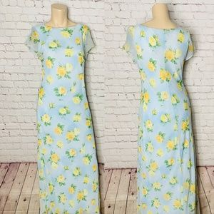 All That Jazz Blue Floral Maxi Dress Yellow Roses